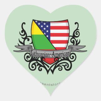 Lithuanian-American Shield Flag Heart Sticker