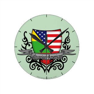 Lithuanian-American Shield Flag Wall Clock