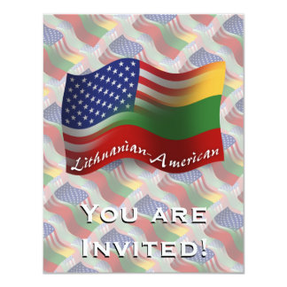 Lithuanian-American Waving Flag Card