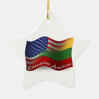Lithuanian-American Waving Flag Ceramic Ornament