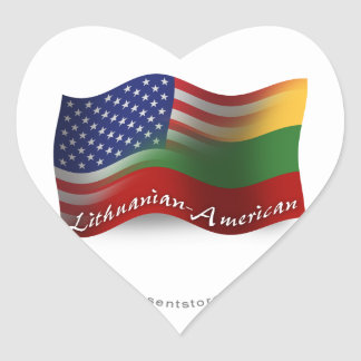 Lithuanian-American Waving Flag Heart Sticker