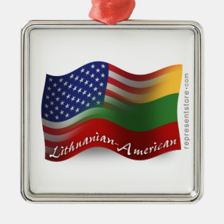 Lithuanian-American Waving Flag Silver-Colored Square Ornament