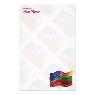 Lithuanian-American Waving Flag Stationery Paper