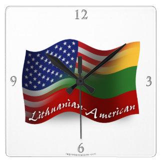 Lithuanian-American Waving Flag Wall Clocks