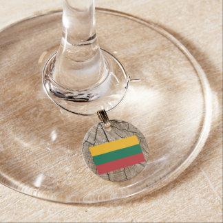 Lithuanian flag on tree bark wine charm