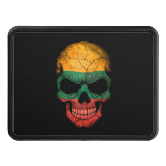 Lithuanian Flag Skull on Black Trailer Hitch Covers