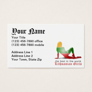 Lithuanian Girl Silhouette Flag Business Card