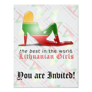 Lithuanian Girl Silhouette Flag Card