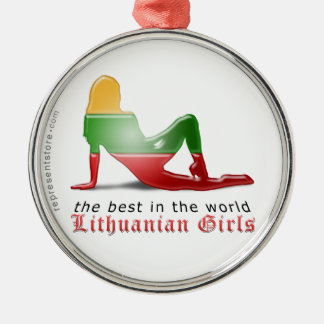 Lithuanian Girl Silhouette Flag Silver-Colored Round Ornament