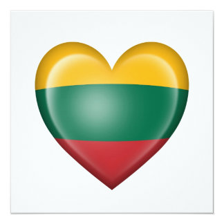 Lithuanian Heart Flag on White Card