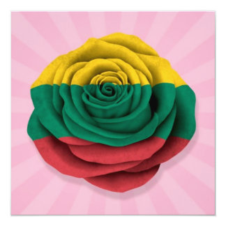 Lithuanian Rose Flag on Pink Card