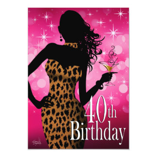 Litika Bombshell Sparkle Leopard 40th Birthday Card