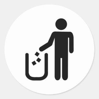 Litter waste garbage round sticker
