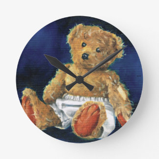 Little Acorn, a Favourite Teddy Round Clock