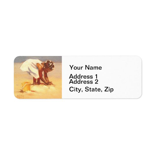 Little African Girl on Beach Return Address Label