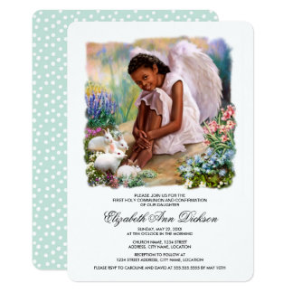 Little Afro Angel Holy Communion Invitations