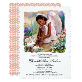 Little Afro Angel Holy Communion Invitations