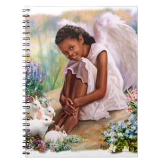 Little Afro Angel with Bunnies Gift Notebooks