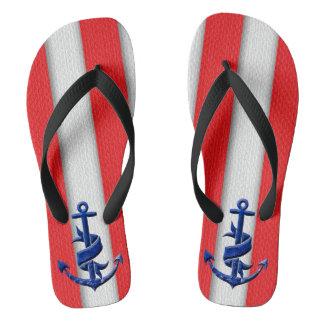 Little Anchor and Big Stripes Flip Flops