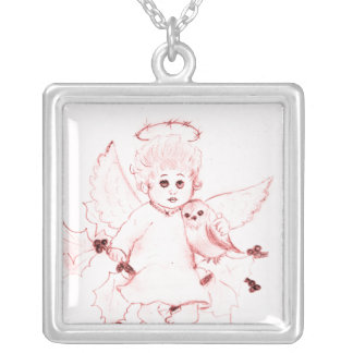 Little Angel in Bright Red Silver Plated Necklace