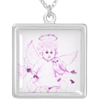 Little Angel in Pink Silver Plated Necklace