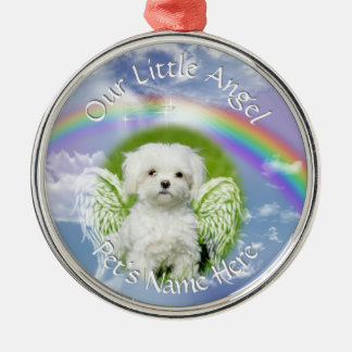 Little Angel Pet Photo Memorial Silver-Colored Round Ornament