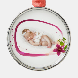 Little Angel Sleeping 041 Silver-Colored Round Ornament