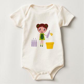 Little artistic girl with Bottle Baby Bodysuit
