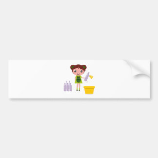 Little artistic girl with Bottle Bumper Sticker