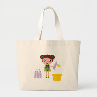 Little artistic girl with Bottle Large Tote Bag