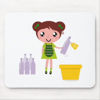 Little artistic girl with Bottle Mouse Pad