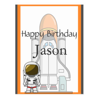 Little Astronaut & Spaceship Birthday Postcard