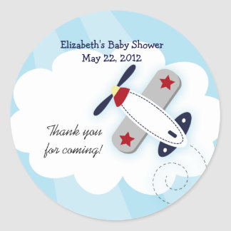 Little Aviator (Blue) Favor Stickers