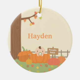 Little Baby in Pumpkin Patch Ornament