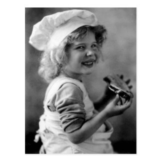 Little Baker Girl Eating Pie Postcard