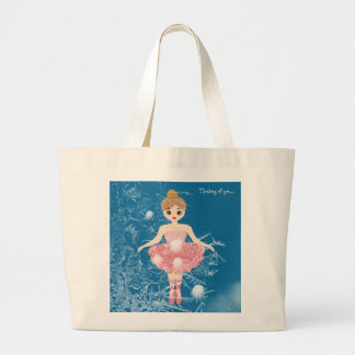 Little Ballerina, Frozen Winter! Thinking of You Large Tote Bag