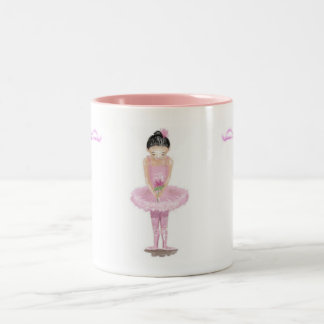 Little Ballerina in Pink Tutu Holding Rose Mug