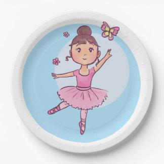 Little Ballerina in Pink Wih Butterfly Paper Plate
