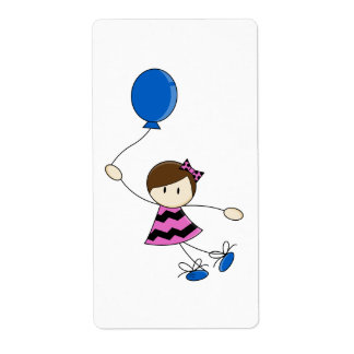 Little Balloon Girl Sticker Label Shipping Label