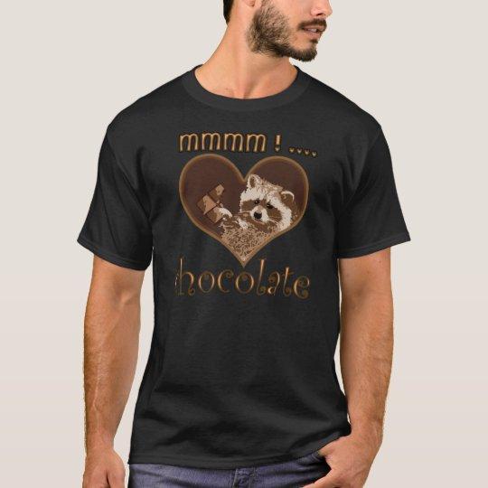 little bandit racoon on black T-Shirt