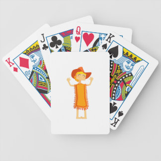 Little Barefoot Girl Wearing A Poncho And Cowboy H Bicycle Playing Cards