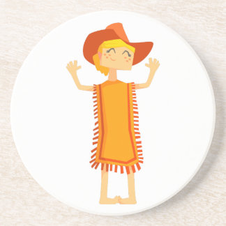 Little Barefoot Girl Wearing A Poncho And Cowboy H Coaster