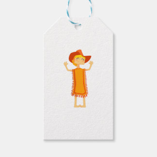 Little Barefoot Girl Wearing A Poncho And Cowboy H Gift Tags