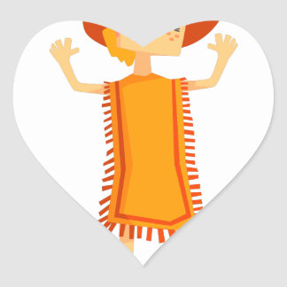 Little Barefoot Girl Wearing A Poncho And Cowboy H Heart Sticker