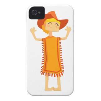 Little Barefoot Girl Wearing A Poncho And Cowboy H iPhone 4 Cases