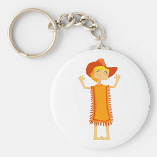 Little Barefoot Girl Wearing A Poncho And Cowboy H Keychain