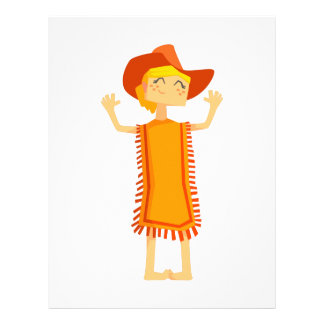 Little Barefoot Girl Wearing A Poncho And Cowboy H Letterhead