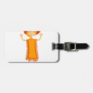 Little Barefoot Girl Wearing A Poncho And Cowboy H Luggage Tag
