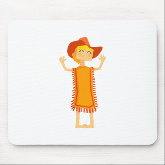 Little Barefoot Girl Wearing A Poncho And Cowboy H Mouse Pad