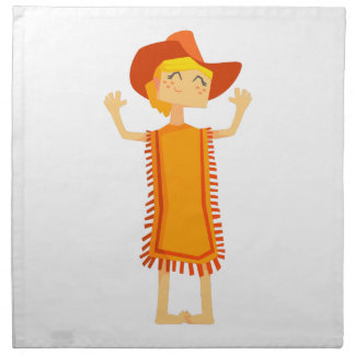 Little Barefoot Girl Wearing A Poncho And Cowboy H Napkin